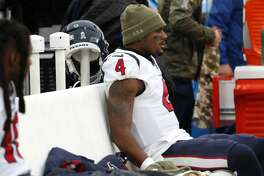 Houston Texans quarterback Deshaun Watson (4) sits on the bench after leaving the game during the fourth quarter of an NFL football game against the Baltimore Ravens at M&T Bank Stadium on Sunday, Nov. 17, 2019, in Baltimore.
