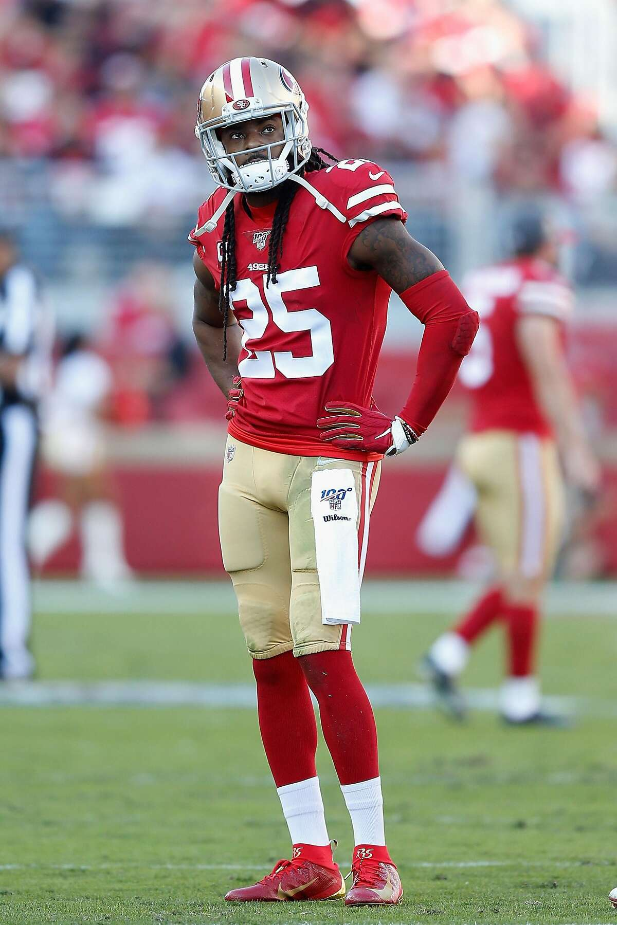 Cornerback Richard Sherman #25 of the San Francisco 49ers reacts on the field during the first half of the NFL game against the Arizona Cardinals at Levi's Stadium on November 17, 2019 in Santa Clara, California.