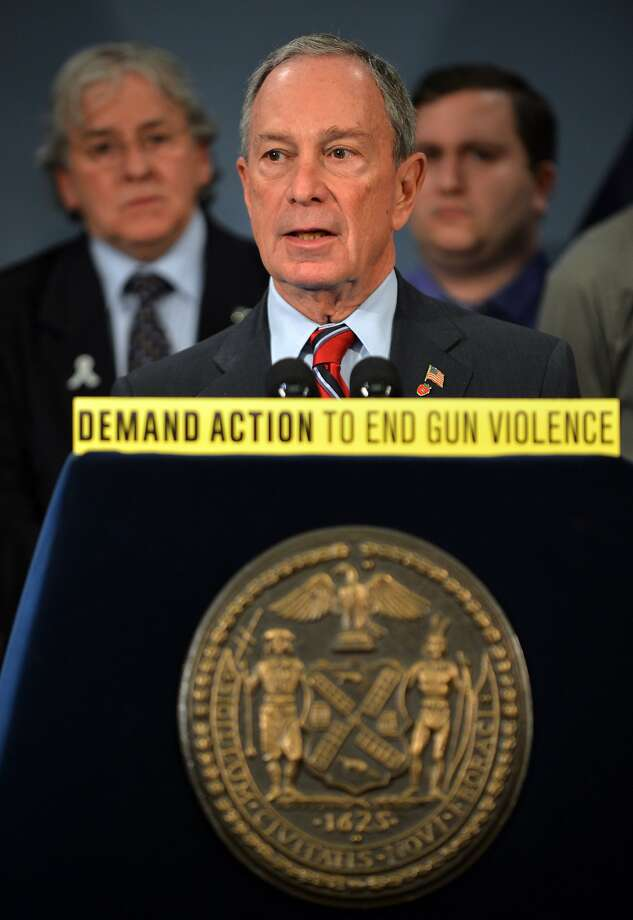 "(FILES) In this file photo taken on March 21, 2013 former New York Mayor Michael Bloomberg speaks at a press conference with US Vice-President Joe Biden and families from Newtown, Connecticut to discuss the need for federal gun laws at City Hall in New York. - As he weighs a presidential bid American billionaire Michael Bloomberg on November 17, 2019 walked back his longtime support for the controversial ""stop and frisk"" policing tactic that for years disproportionately targeted black and Latino people in New York.""I was wrong, and I'm sorry,"" the city's former mayor told the congregation of a predominately black megachurch, the Christian Cultural Center in Brooklyn's East New York neighborhood, an area once scarred by violence that's still plagued by poverty. (Photo by STAN HONDA / AFP) (Photo by STAN HONDA/AFP via Getty Images) Photo: Stan Honda, AFP Via Getty Images"