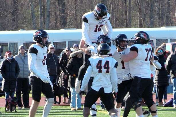 Will Rolapp (10) celebrates a touchdown during Suffield Academy's 29-21 victory over Avon Old Farms in the NEPSAC A Kevin Driscoll Bowl, Saturday, Nov. 16, 2019 at Ryan Field in Avon.