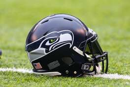 02 OCT 2016: Seattle Seahawks helmet on the field prior to the game between the New York Jets and the Seattle Seahawks played at MetLife Stadium in East Rutherford,NJ. (Photo by Rich Graessle/Icon Sportswire via Getty Images)
