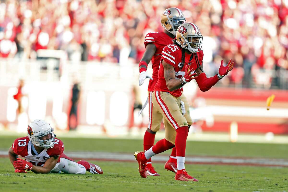 San Francisco 49ers' Richard Sherman reacts to a pass interference penalty while defending against Arizona Cardinals' Christian Kirk in 2nd quarter during NFL game at Levi's Stadium in Santa Clara, Calif., on Sunday, November 17, 2019.