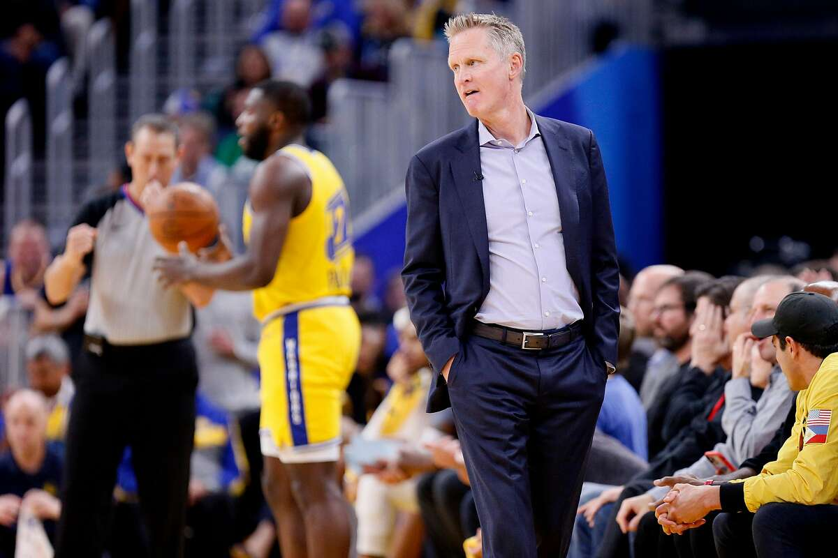 Golden State Warriors head coach Steve Kerr in the second period of an NBA game against the Boston Celtics at Chase Center on Friday, Nov. 15, 2019, in San Francisco, Calif.