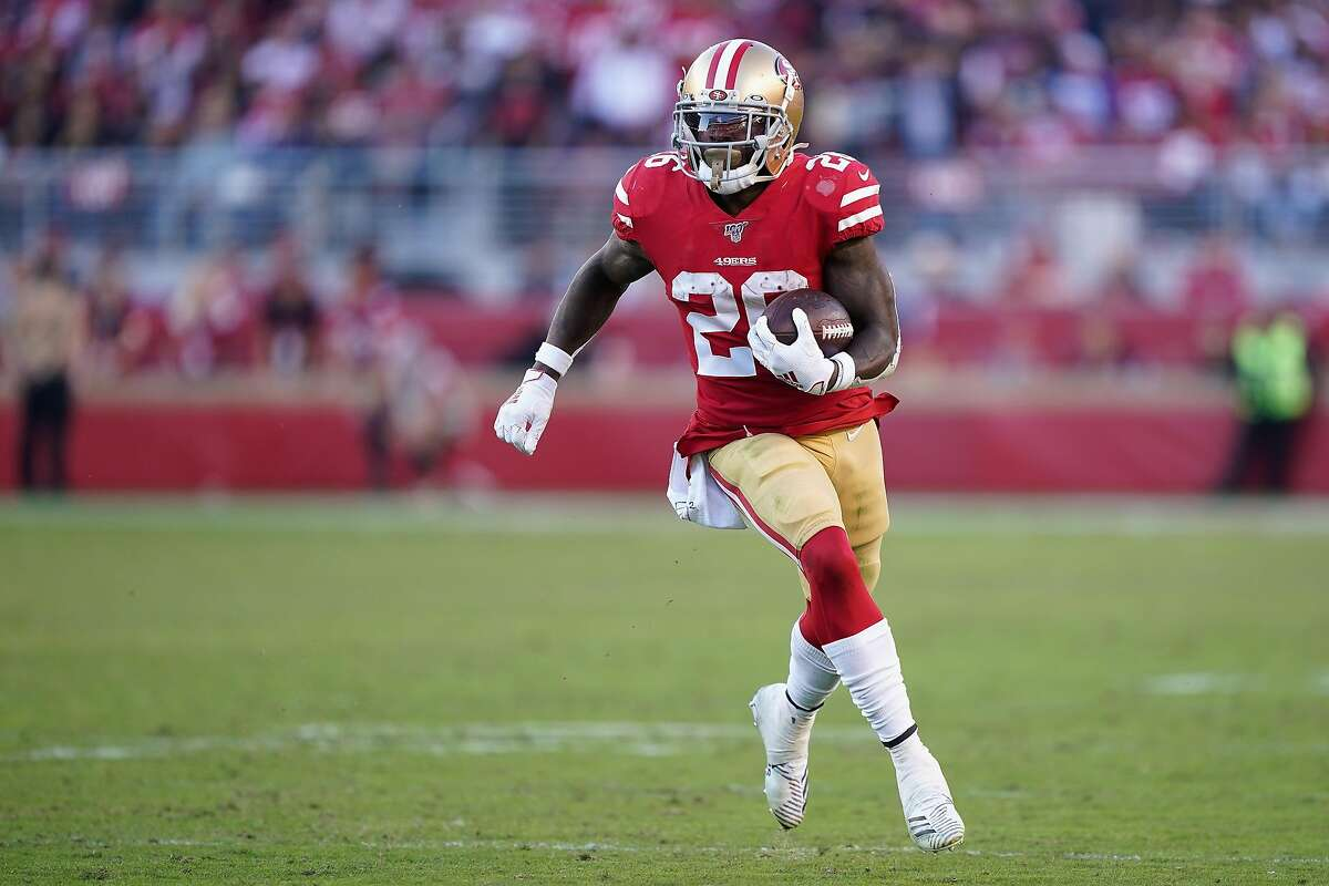 Running back Tevin Coleman #26 of the San Francisco 49ers rushes the football against the Arizona Cardinals during the second half of the NFL game at Levi's Stadium on November 17, 2019 in Santa Clara, California. (Photo by Thearon W. Henderson/Getty Images)