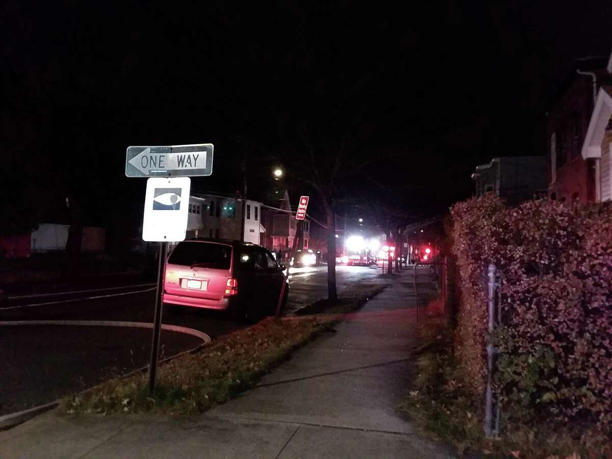 Firefighters were battling a blaze at a Gilbert Avenue address on Nov. 17, 2019.