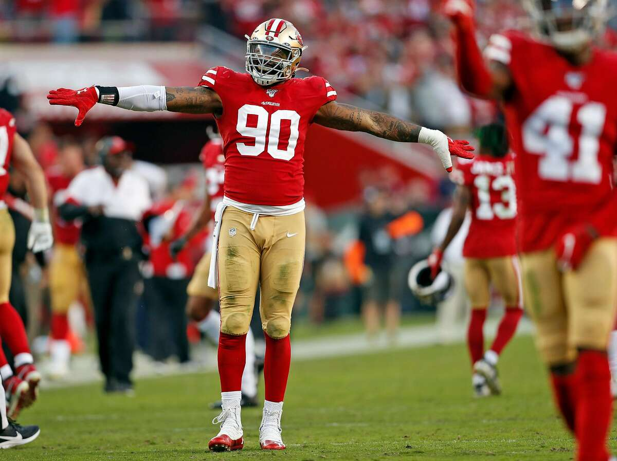 San Francisco 49ers' Damontre Moore celebrates his forced fumble late in 4th quarter during Niners' 36-26 win over Arizona Cardinals in NFL game at Levi's Stadium in Santa Clara, Calif., on Sunday, November 17, 2019.
