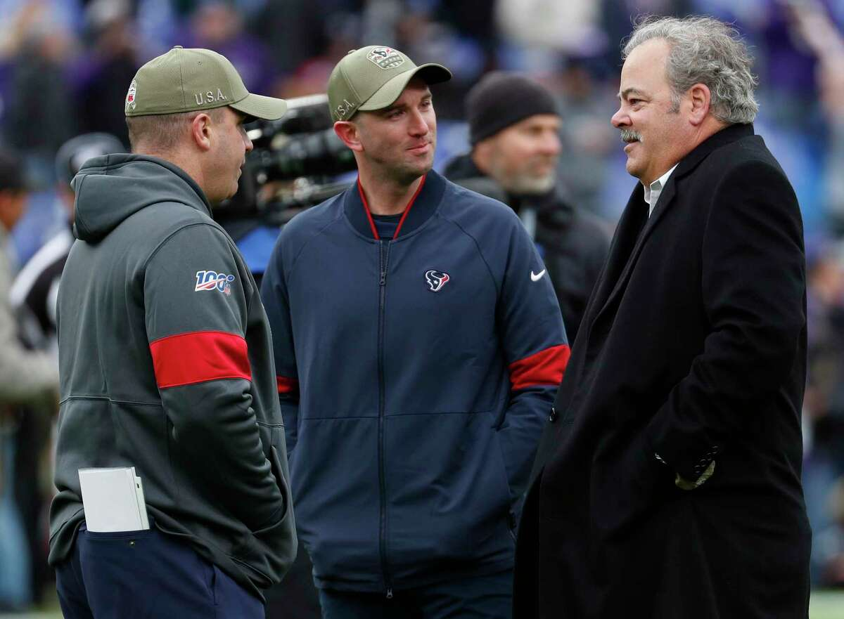 Bill O'Brien (left) is gone as Texans coach/GM, while owner Cal McNair opted to keep his right-hand man Jack Easterby (center), which a lot of folks in this weeks mailbag had an issue with.