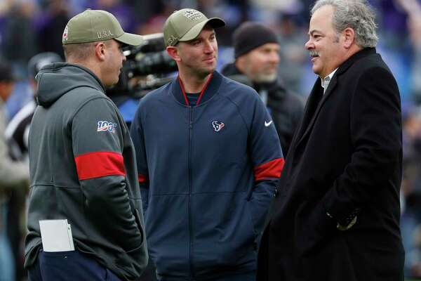 Houston Texans chairman Cal McNair talks to head coach Bill O'Brien and Jack Easterby before an NFL football game against the Baltimore Ravens at M&T Bank Stadium on Sunday, Nov. 17, 2019, in Baltimore.