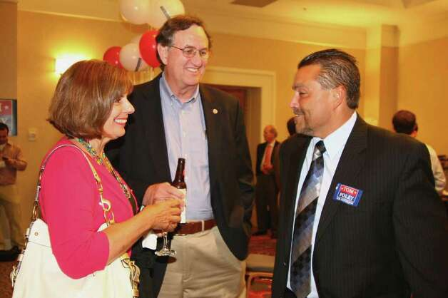 Foley campaign volunteer Stephen Vicino, at right, chats with supporters Carol and Dick Barlow, of Canton, while at Foley's primary day party at the Mariott Hotel in Rocky Hill, Conn. on Tuesday August 10, 2010. Photo: Christian Abraham / Connecticut Post