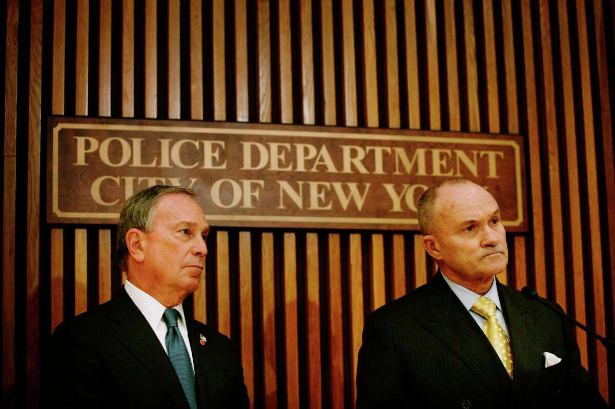 FILE -- Then New York City Mayor Michael Bloomberg, left, and then Police Commissioner Raymond Kelly at a news conference in New York, Dec. 23, 2008. During Bloomberga€™s tenure as mayor, police officers stopped and questioned people they believed to be engaged in criminal activity on the street more than five million times as part of a controversial program known as a€œstop-and-frisk.a€ (Christoph Bangert/The New York Times)