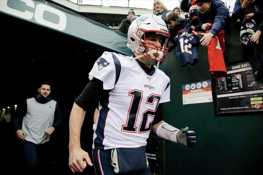 New England Patriots' Tom Brady runs onto the field before an NFL football game against the Philadelphia Eagles, Sunday, Nov. 17, 2019, in Philadelphia. (AP Photo/Matt Rourke) Photo: Matt Rourke / Copyright 2019 The Associated Press. All rights reserved