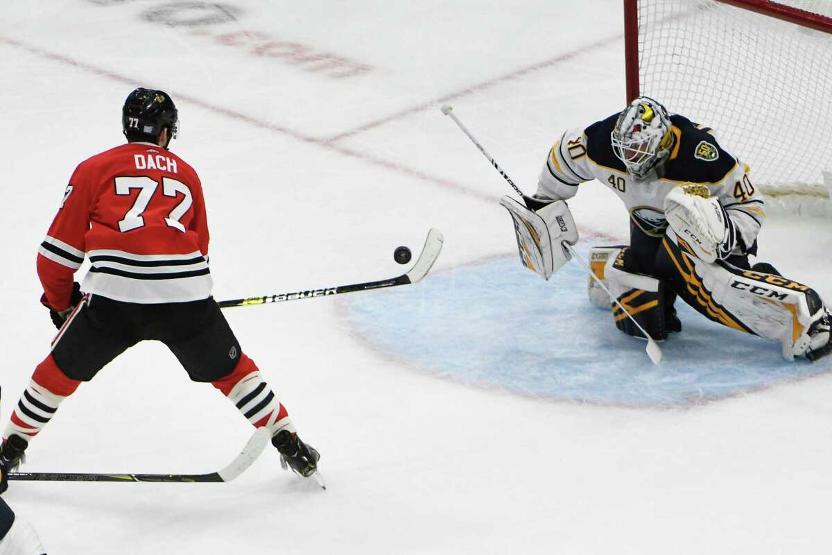 Chicago Blackhawks center Kirby Dach (77) prepares to shoot on Buffalo Sabres goaltender Carter Hutton (40) during the second period of an NHL hockey game Sunday, Nov. 17, 2019, in Chicago. (AP Photo/David Banks)