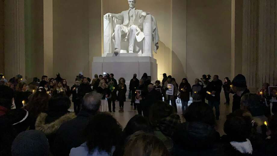 Supporters of the family of Bijan Ghaisar listen to his father, James Ghaisar, speak inside the Lincoln Memorial on Sunday, Nov. 17, 2019, the two-year anniversary of the fatal shooting of his son. Photo: Washington Post Photo By Tom Jackman / The Washington Post