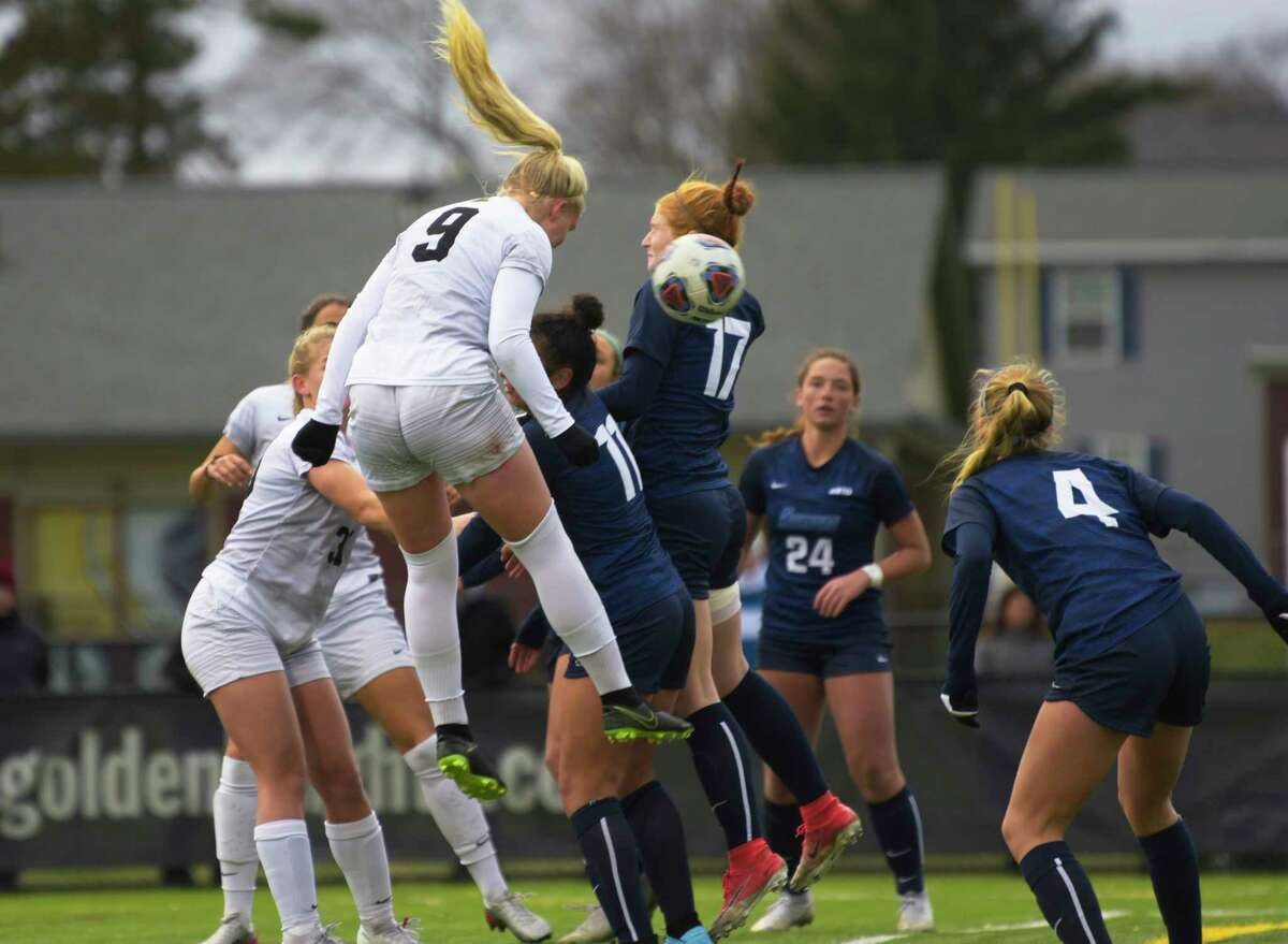Sanna Rein with the College of Saint Rose heads in the game winning goal with seconds left during their game against Southern Connecticut State in the women's soccer Northeast-10 Conference title game on Sunday, Nov. 17, 2019, in Albany, N.Y. (Paul Buckowski/Times Union)