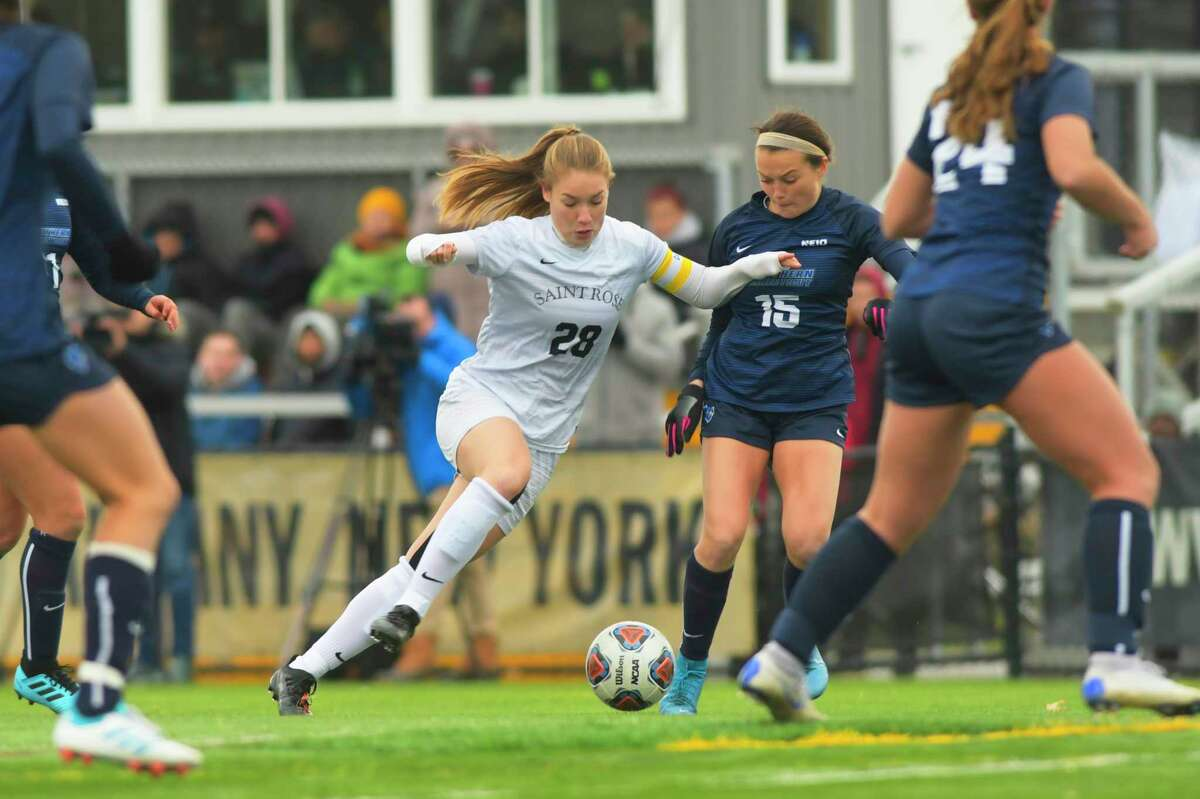 Nina Predanic with the College of Saint Rose brings the ball up the field during their game against Southern Connecticut State in the women's soccer Northeast-10 Conference title game on Sunday, Nov. 17, 2019, in Albany, N.Y. (Paul Buckowski/Times Union)