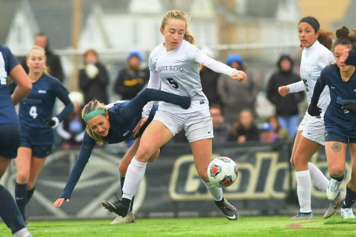 Theresa Durle with the College of Saint Rose is fouled during their game against Southern Connecticut State in the women's soccer Northeast-10 Conference title game on Sunday, Nov. 17, 2019, in Albany, N.Y. The foul lead to a penalty kick with Saint Rose scored on to tie the game one to one. (Paul Buckowski/Times Union)