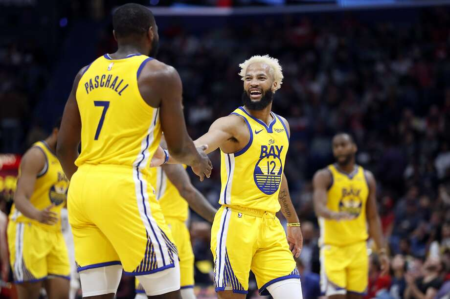 Golden State Warriors guard Ky Bowman (12) and Golden State Warriors forward Eric Paschall (7) in the second half of an NBA basketball game in New Orleans, Sunday, Nov. 17, 2019. The Pelicans won 108-100. (AP Photo/Tyler Kaufman) Photo: Tyler Kaufman / Associated Press