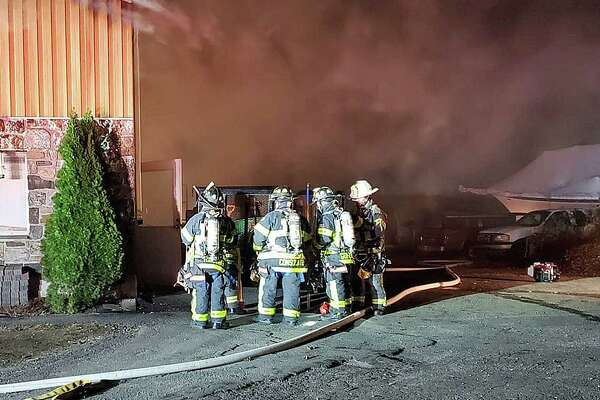 Firefighters battled an early morning blaze at a commercial building on Saw Mill Road, according to the New Fairfield Volunter Fire Department