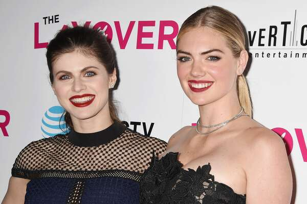 HOLLYWOOD, CA - AUGUST 23: Actresses Alexandra Daddario (L) and Kate Upton arrive at the Premiere of DIRECTV And Vertical Entertainment's 'The Layover' at ArcLight Hollywood on August 23, 2017 in Hollywood, California. (Photo by Jeffrey Mayer/WireImage)