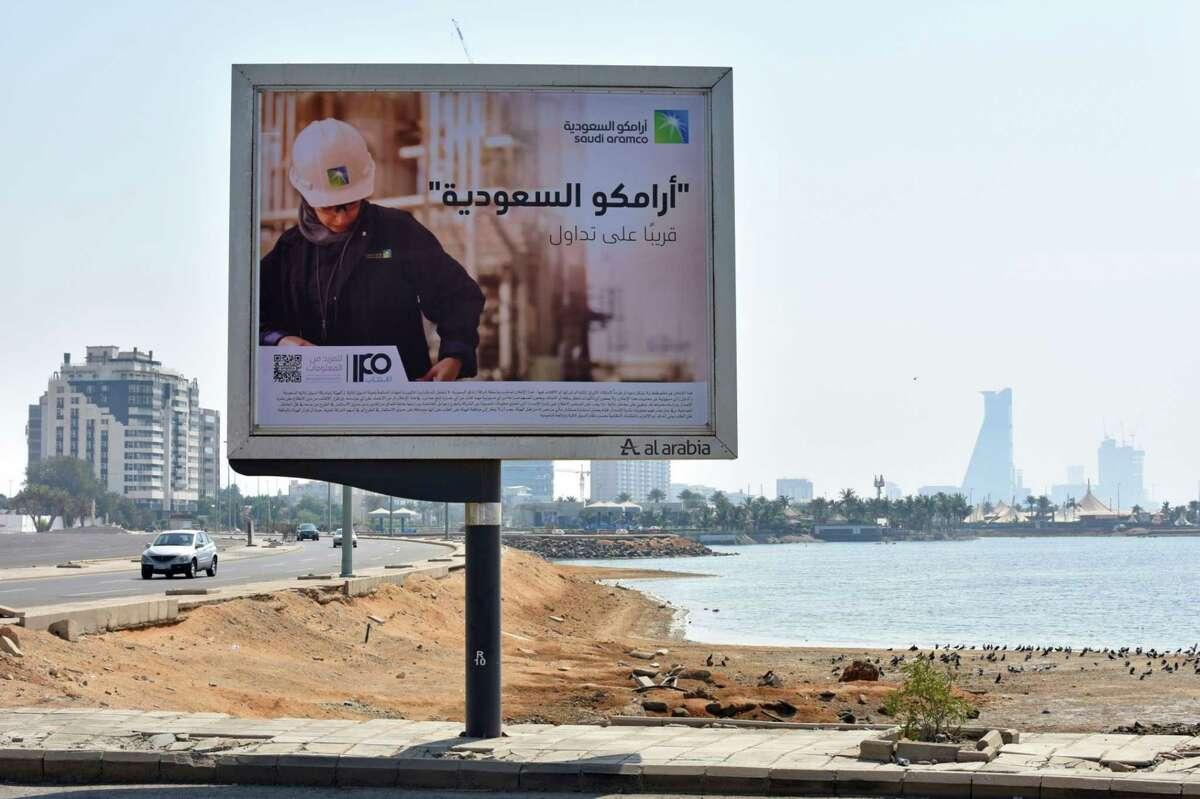An advertisement for the planned Saudi Aramco IPO at the Corniche coastline in Jeddah, Saudi Arabia, on Nov. 8, 2019.
