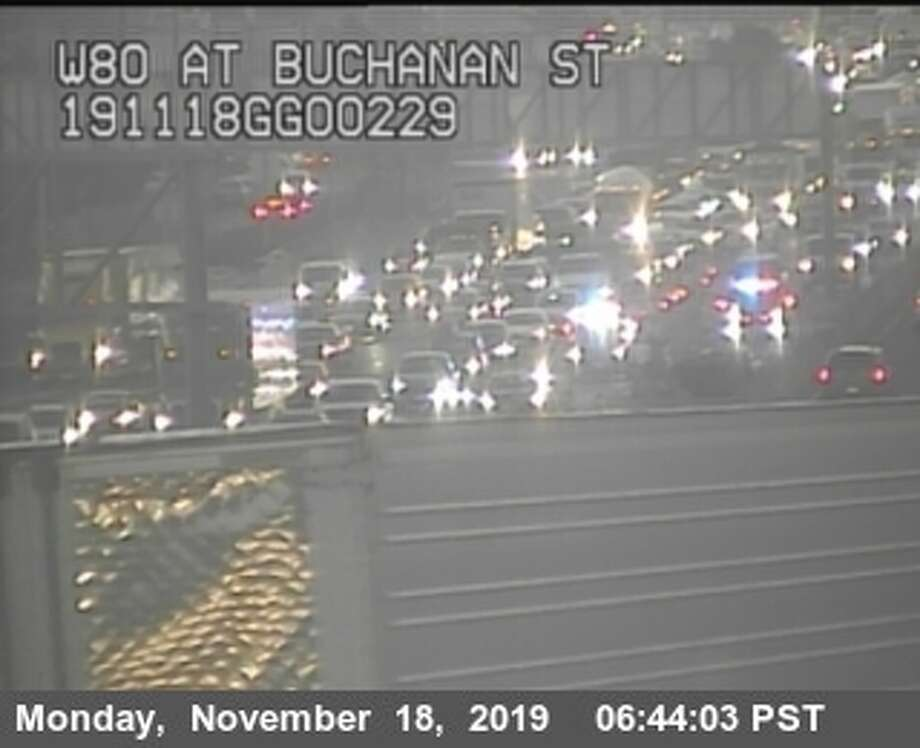 Westbound I-80 traffic was backed up in Albany because of a fatal accident on Monday morning. Photo: CalTrans