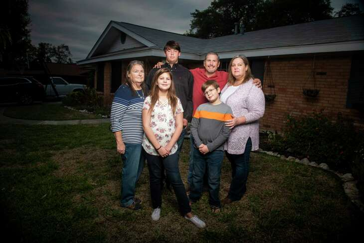 Sandi Allen's blended family includes, from left, her mother Pat Allen, 71, daughter Ashley Lyon, 13, son Andrew Allen, 16, husband Rob Lyon, 48, son Quinn Lyon, 11, and Allen, 48. Andrew attends Port Aransas High School and, when not in school, splits his time between his mom's home in Windcrest and his dad Matt McConnell who lives with his family in Bulverde.