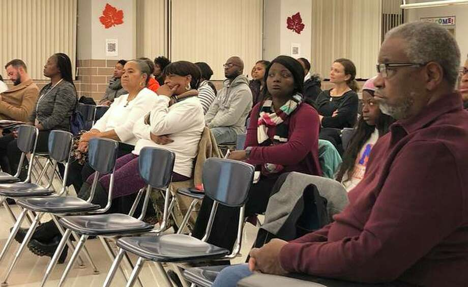About 40 parents and community members attended the Edwardsville School District 7 Board of Education meeting last week following a racist incident that occurred earlier this month involving Edwardsville High School students. Photo: Julia Biggs|For The Intelligencer