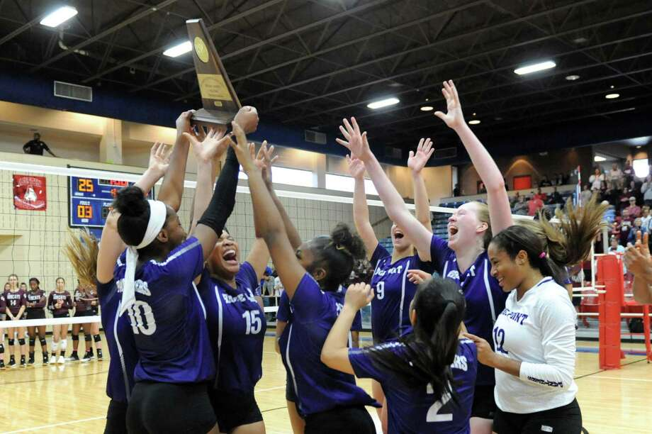 The Ridge Point Panthers celebrate their 3-0 victory over the Cy-Fair Bobcats in the Region III-6A Volleyball Final on Saturday, November 16, 2019 at Wheeler Fieldhouse, Sugar Land, TX. Photo: Craig Moseley, Staff / Staff Photographer / ©2019 Houston Chronicle