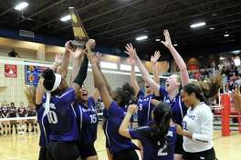 The Ridge Point Panthers celebrate their 3-0 victory over the Cy-Fair Bobcats in the Region III-6A Volleyball Final on Saturday, November 16, 2019 at Wheeler Fieldhouse, Sugar Land, TX.