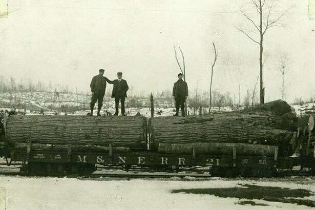 A couple of large logs are transported to the lumber mill by the M. & N.E. railroad.