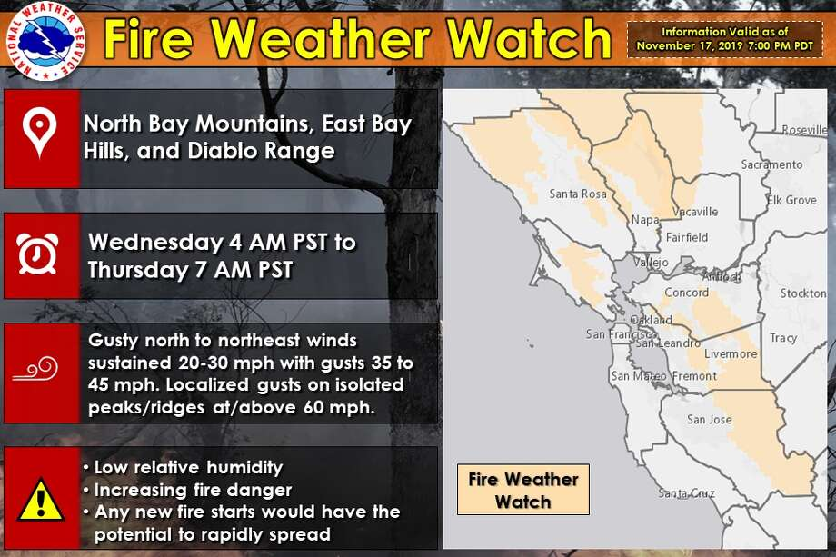 The National Weather Service has issued a Fire Weather Watch for the North Bay Mountains, East Bay hills and the Diablo range for 4 a.m. Wednesday through 7 a.m. Thursday. Photo: NWS