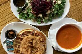 Chicken and waffle, kale salad and tomato soup from Earl Abel's