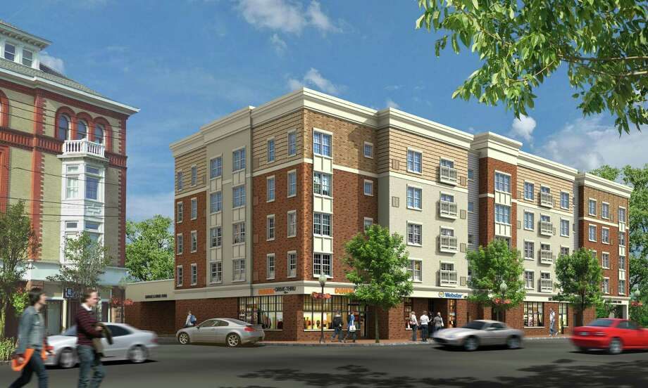 The rendering of a proposed development at 502 Howe Ave., the present home of Webster Bank. Photo: Contributed Photo / Connecticut Post