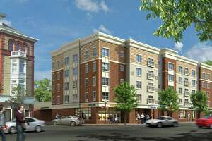 The rendering of a proposed development at 502 Howe Avenue, the present home of Webster Bank.