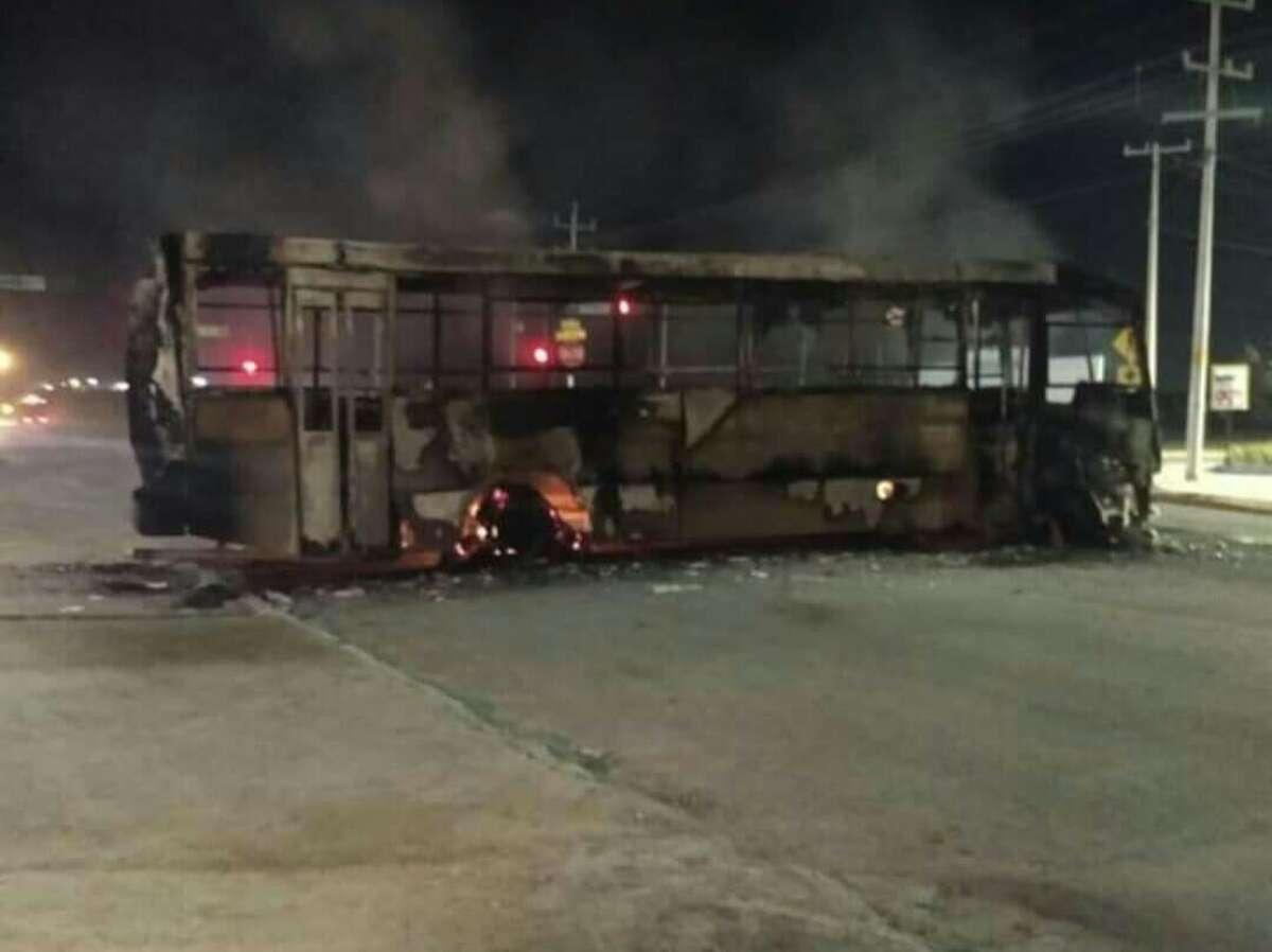 Burning vehicles were used to block main roads Friday during attacks in Nuevo Laredo.