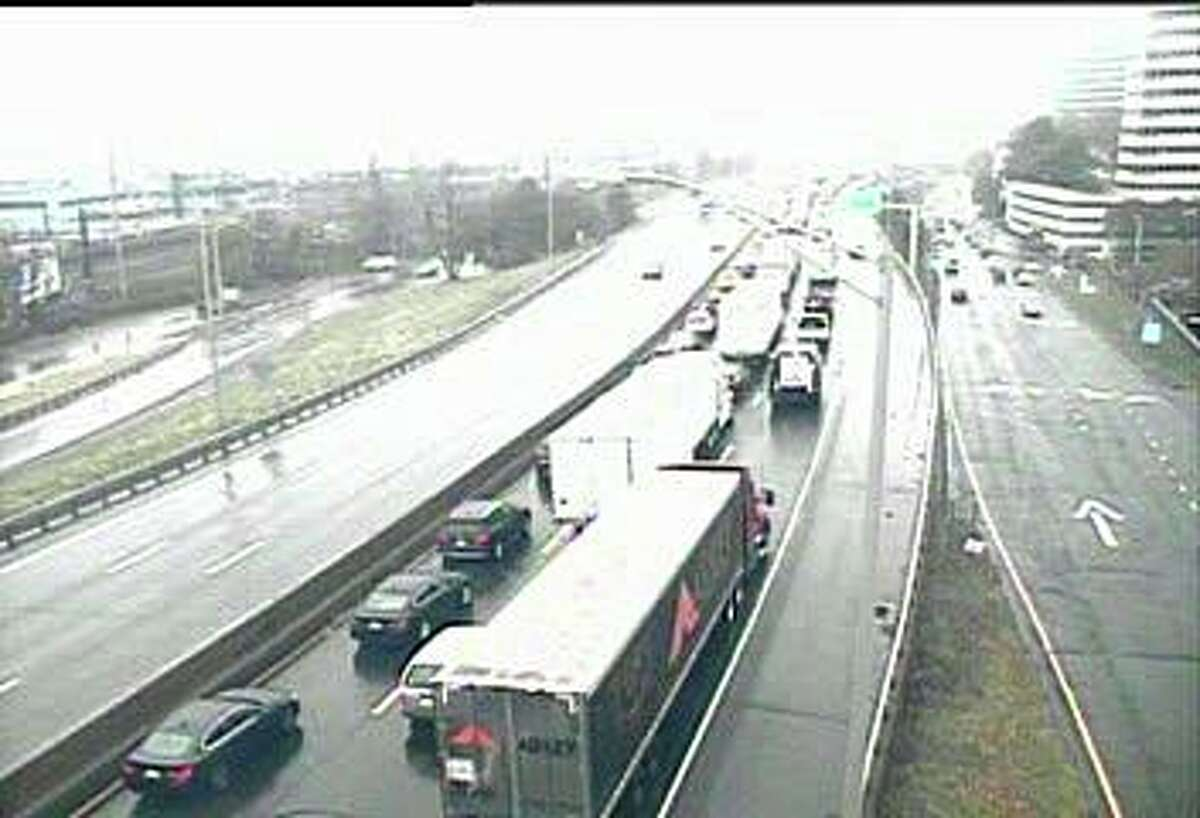 Southbound traffic on I-95 is congested near Exit 8 in Stamford after an accident involving two trucks on Monday, Nov. 18, 2019.