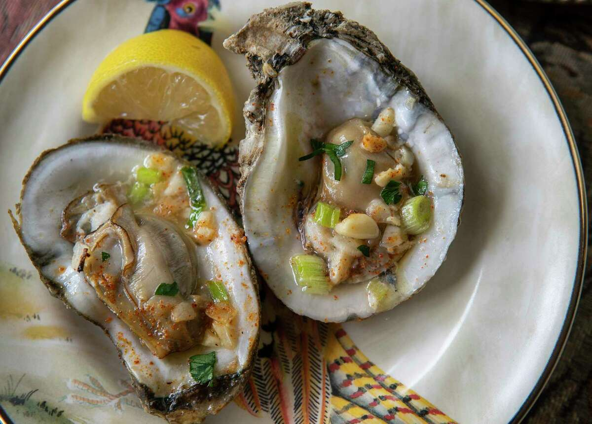 Roasted Gulf oysters begin the Thanksgiving Day dinner.