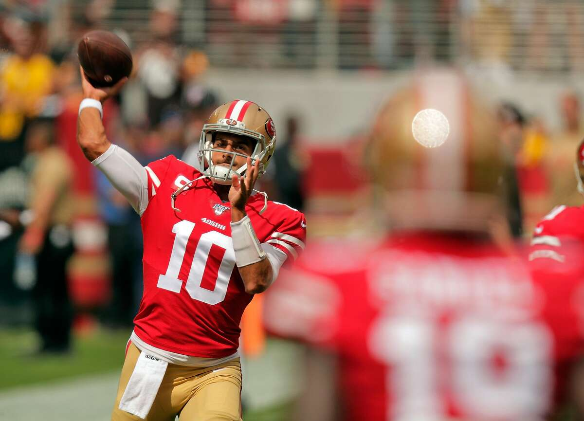 Quarterback Jimmy Garoppolo (10) warms up with Deebo Samuel (19) bafore the San Francisco 49ers played the Pittsburgh Steelers at Levi's Stadium in Santa Clara, Calif., on Sunday, September 22, 2019.