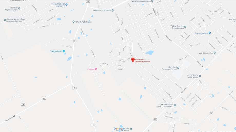 Voss Farms Elementary School was placed under lockdown after a suspect New Braunfels police was chasing ran onto the campus. Photo: Google Maps