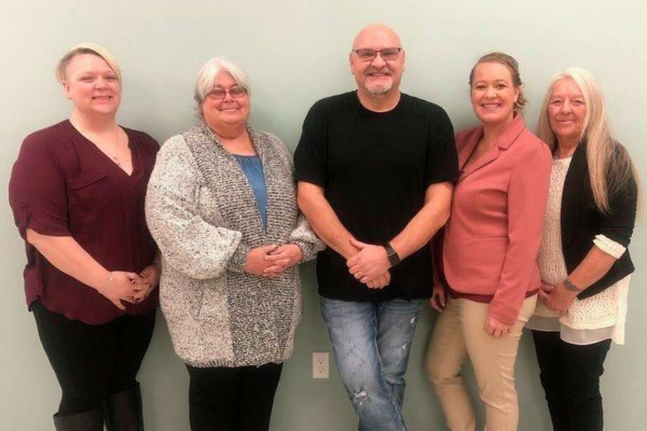 Evart Chamber of Commerce has new board and a new focus on helping local businesses. Pictured (left to right) are: Chris Emerick, Trustee; Carol Roberts, Treasure; Eric Schmidt, President; Ashlee Flachs, Vice President; and Sandra Keller, Secretary.