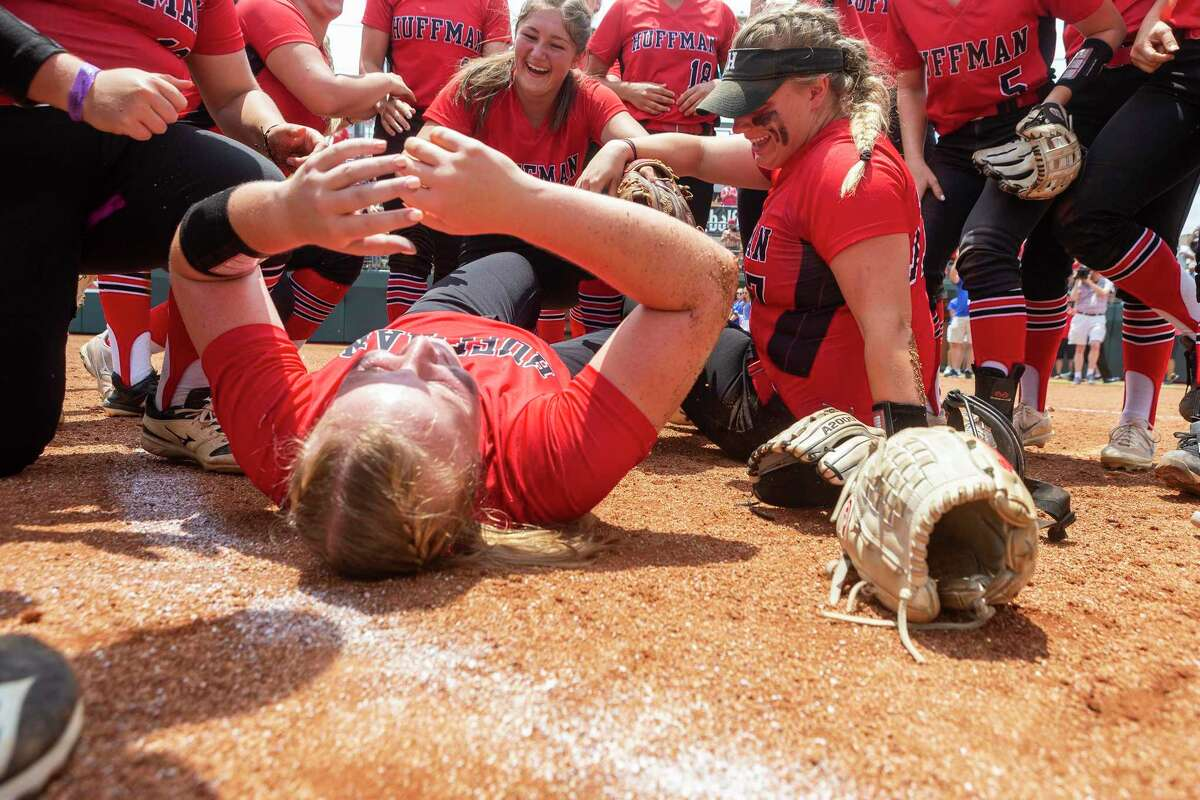 Huffman Hargrave pitcher Katy Janes, on her back, celebrates a 12-0 win in six innings over Anna during the UIL Class 4A state softball championship in Austin, Saturday, June 1, 2019. (Stephen Spillman / for Houston Chronicle)