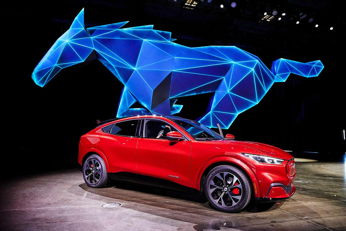 The Ford Mustang Mach E in Los Angeles, Nov. 17, 2019. Ford unveiled the electric SUV, set to come to auto showrooms next year, at an event ahead of the Los Angeles Auto Show. (Ryan Young/The New York Times)