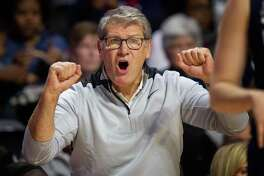 UConn coach Geno Auriemma shouts from the sideline during a Nov. 17 game against Temple.