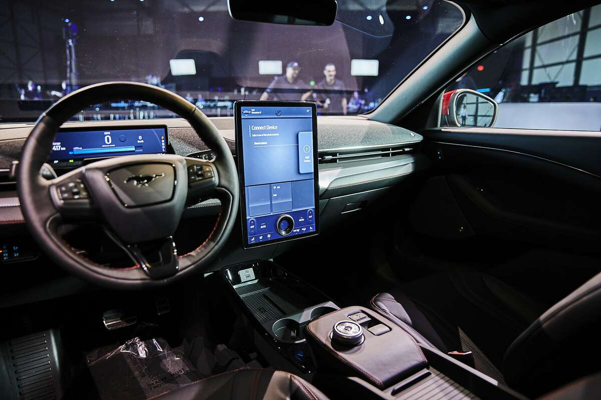 The interior of the Ford Mustang Mach E in Los Angeles, Nov. 17, 2019. Ford unveiled the electric SUV, set to come to auto showrooms next year, at an event ahead of the Los Angeles Auto Show. (Ryan Young/The New York Times)