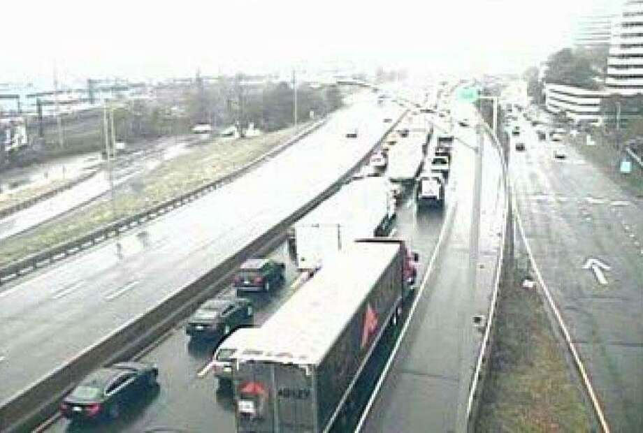 Southbound traffic on I-95 is congested near Exit 8 in Stamford after an accident involving two trucks on Monday, Nov. 18, 2019. Photo: Contributed Photo / Wilton Bulletin Contributed