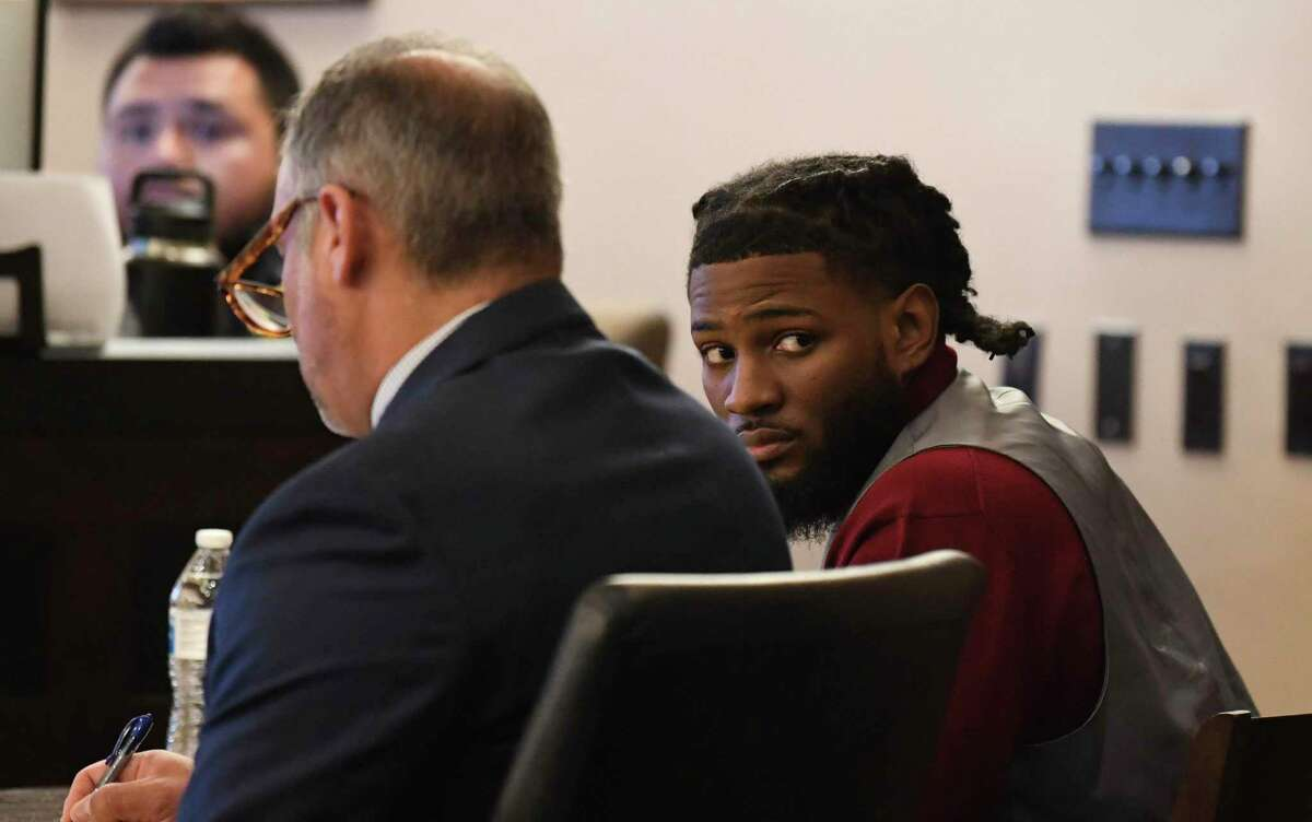 It took jurors nearly eight hours to find Leandre Hill, right, guilty of killing Randall Perkins, 20, at a party in 2012. Hill faces up to life in prison. The punishment phase begins Thursday.