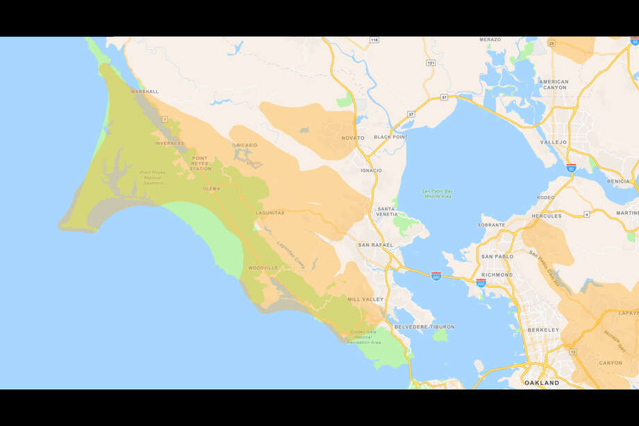 The approximate area blackouts will occur in Marin County on Nov. 20, 2019. Photo: Screenshot / PG&E