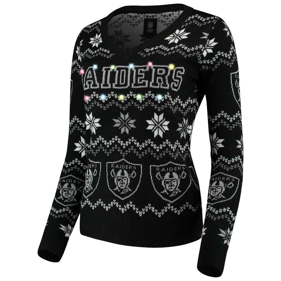 Women's Raiders ugly Christmas sweater with lights Buy from Fanatics Photo: Fanatics