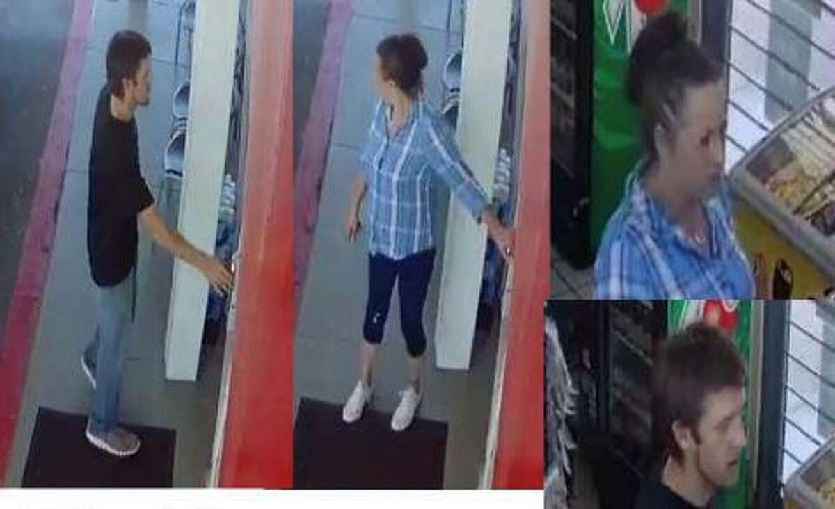 A man and woman are seen in surveillance footage at an Exxon Mobil gas station in Spring. Authorities say they stole a U-Haul truck from there.