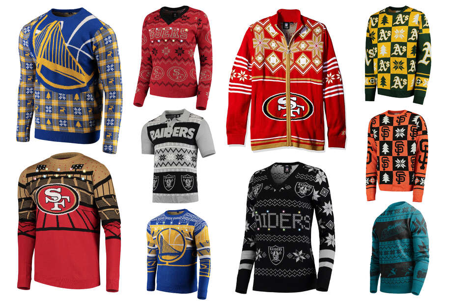 One thing fans of every team can agree on: These Christmas sweaters are absolutely hideous. Photo: SFGATE